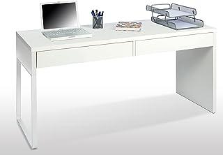 Habitdesign Mesa Escritorio con 2 Cajones, Mesa de Despacho, Mesa de Oficina, Modelo Touch, Color Blanco Artik, Medidas: 1...