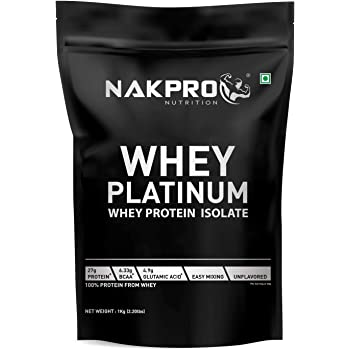 NAKPRO PLATINUM Whey Protein Isolate 90% | Raw, Pure,USA made - Unflavored -1 Kg (33 Servings)