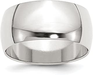 925 Sterling Silver 10mm Half Round Size 5 Wedding Ring Band Classic Fine Jewelry For Women Gift Set