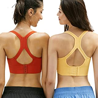 Padded Strappy Sports Bras for Women - Activewear Tops for Yoga Running Fitness
