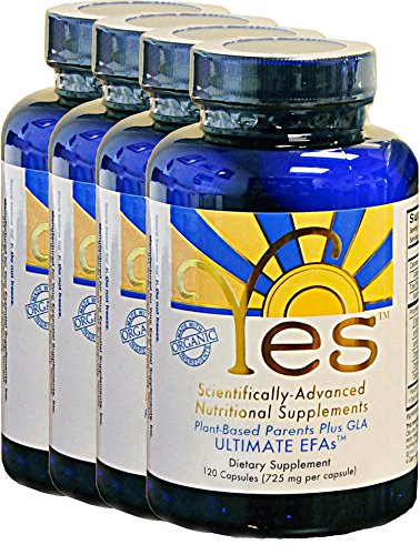 Yes Parent Essential Oils ULTIMATE EFAs 120 Capsules (4 Pack), Based On The Peskin Protocol, Plant Based Organic Oils, Omega 3 6, Vegetarian, Keto Friendly