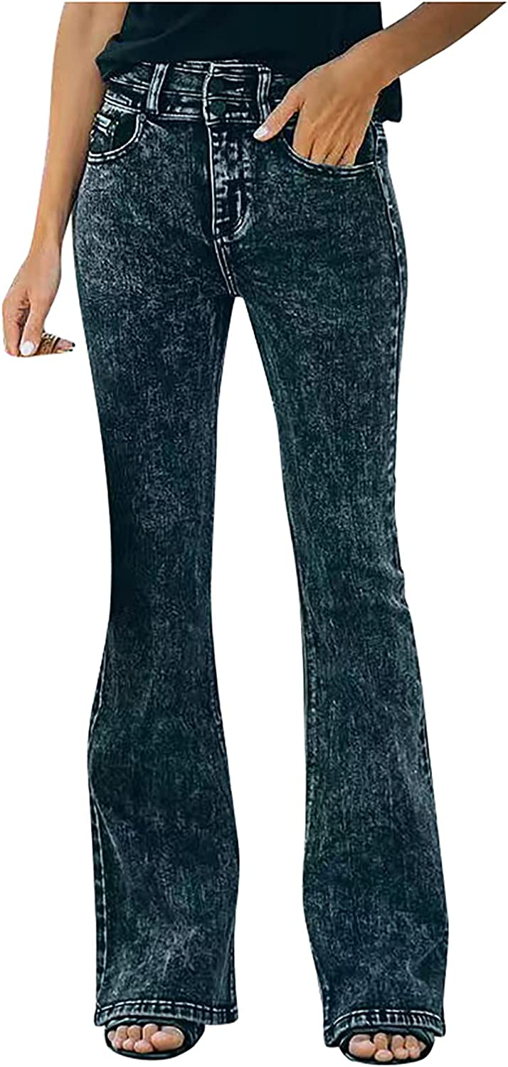Misaky Women's Flared Skinny Jeans High Waist Casual Slim Wide Leg Jeans Button Trousers