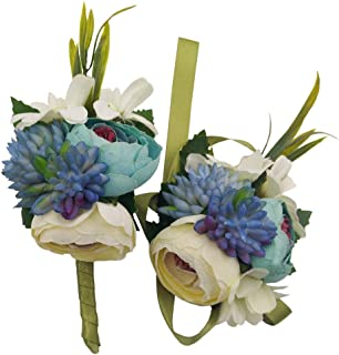 Evniset Wedding Ribbon Wrist Corsage Brooch Boutonniere Set Artificial Succulent Plant Party Wedding Decoration (Blue 2-Pack)