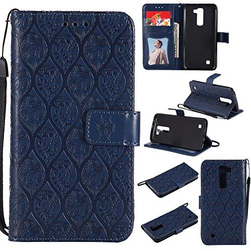 Lomogo LG K8 (K350N) / K7 (X210) Hülle Leder, Schutzhülle Brieftasche mit Kartenfach Klappbar Magnetverschluss Stoßfest Kratzfest Handyhülle Case für LG K8 / K7 - LOYYO23333 Marineblau