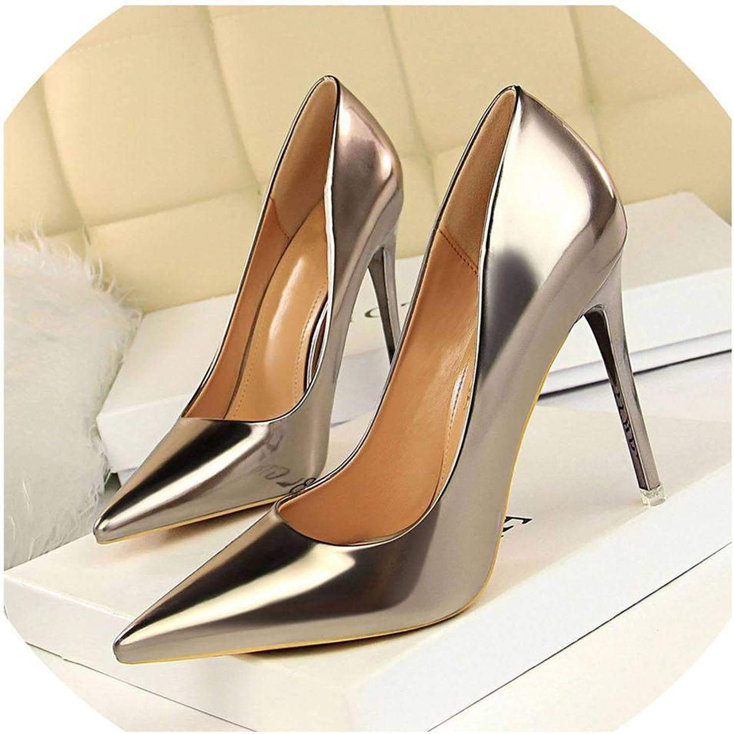 Patent Leather Thin Heels Office Women shoes High Heels shoes