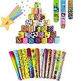 Braccialetti Slap HOUSTAR 55Pcs Slap Bracelets Gadget Bracciali a Scatto per Festa Compleanno Birthday Bomboniere Party Supplies Favors per Bambini, Ragazze e Ragazzi