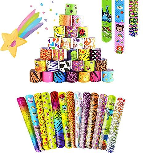 55Pcs Pulsera Bofetada HOUSTAR Pulseras de Juguete Slap Pulsera, Slap Bracelets, Banda de Pulsera Fiesta Cumpleaños de Infantil Rellenos de Bolsa de Fiesta para niños niñas
