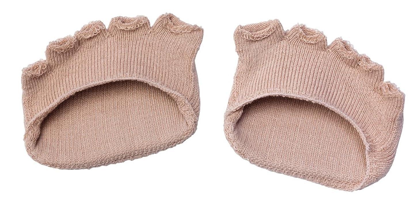 東ティモール余暇色合い綿混サラリ洗える足まめパッド(1足組) ベージュ