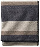 Pendleton, Eco-Wise Washable Wool Blanket, Midnight Navy Stripe, Queen