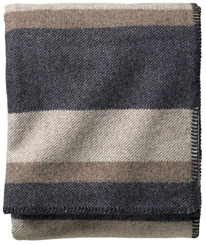 Pendleton eco-Wise Easy Care Decke, Queen, Midnight Navy Streifen