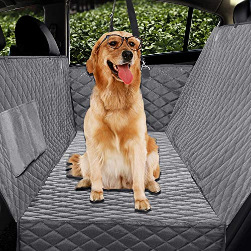 Honest Luxury Quilted Dog Car Seat Covers with Side Flap Pet Backseat Cover for Cars, Trucks, and Suv s - Waterproof & Nonslip Dog Seat Cover (X-Large(61  Wx64  L), Gray)