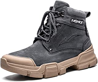 JIANFEI LIANG Men's Classic Ankle Boots Work Boots with Collision Avoidance Toe Lace up Genuine Leather Anti Slip Vegan Stitching Rubber Sole Work or Casual Wear (Color : Gray, Size : 38 EU)