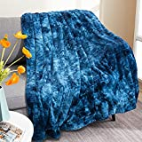 Beglad Faux Fur Throw Blanket, Super Soft Warm Cozy Tie Dye Sherpa Blanket, Shaggy Lightweight Large Fuzzy Throw Blanket, Plush Fluffy Blankets Suitable for Sofa, Couch or Bed, 50' X 65', Blue