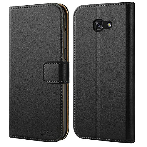HOOMIL Handyhülle für Samsung Galaxy A3 (2017) Hülle, Premium PU Leder Flip Schutzhülle für Samsung Galaxy A3 (2017) Tasche, Schwarz