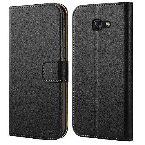 HOOMIL Galaxy A5 2017 Hülle, Handyhülle Samsung Galaxy A5 (2017) Tasche Leder Flip Hülle Brieftasche Etui Schutzhülle für Samsung A5 2017 Cover - Schwarz (H3034)