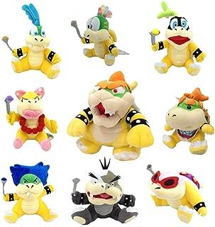 One Set of 9 Super Mario Bros Plush Toy King Bowser Baby Bowser Jr Kids Koopalings Koopa Larry Iggy Lemmy Roy Ludwig Wendy Morton by Generic