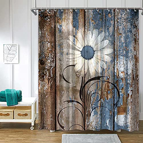 Verngo Rustic Daisy Shower Curtains, Blue Brown Floral Farmhouse Shower Curtains for Bathroom, Spring Country Botanical Bathroom Shower Curtain Sets Waterproof Fabric Decor