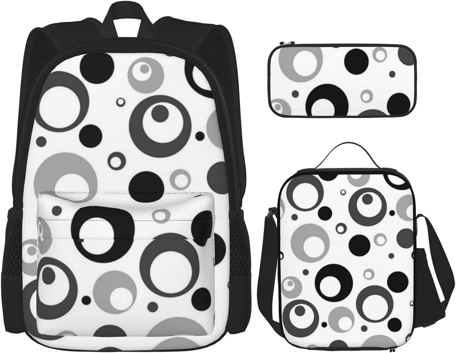 Over item handling ☆ Backpack Bags Circles Dots Grayscale Black Bag Pe quality assurance Lunch with