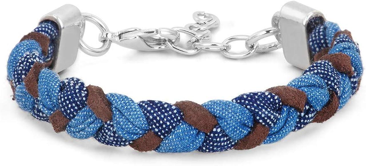 DEMDACO Braided Artisan Indigo Blue One Size Brass Metal and Cotton Fabric Bracelet
