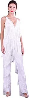 Miss ord Women Spaghetti Straps V-Neck Halter lace Fringe Jumpsuits with Zipper