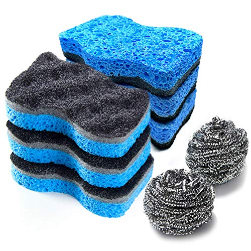 SSJL Multi-Use Kitchen Sponges for Dishes with 2 Steel Wool - Non-Scratch Natural Dish Sponges for Washing Dishes - Dual-Sided Cellulose Sponges for Cleaning - Eco Scrub Sponges Kitchen (6 Pack)