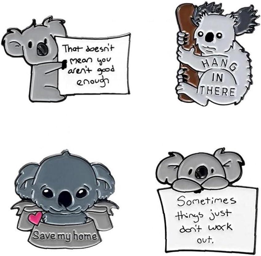 TOSSPER 4pcs Brooches Badge Cute Cartoon Koala Bear Pin Tips for Bag Lapel Pin Buckle Jewelry Gift for Friend