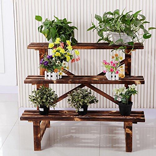 Support à fleurs Bois massif Anticorrosif Étagère à pots à fleurs Retro Carbonize Trois couches Balcon à gradins Intérieur et extérieur (taille : 61 * 45 * 60cm)
