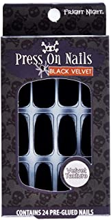 Fright Night Press On Nails, Black Velvet, 24 Count Pre-Glued Nails, easy to apply and remove, no glue needed