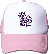 BQJ Apparel Unisex Adjustable Sex Drugs Rock & Roll Trucker Cap Youth Mesh Hat Pink