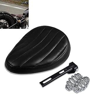 KaTur Motorcycle Slim Solo Seat Universal Leather Low Profile Cushion for Cruiser Bobber Chopper Harley Honda Yamaha Suzuki Kawasaki