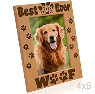 Kate Posh - Best Dog Ever - Dog Paws and Bones Engraved Picture Frame (4x6-Vertical)
