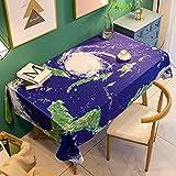 Mantel Antimanchas Rectangular Protector de Mesa Lavable Impermeable Manteles 130X180Cm Mantel Rectangular Adecuado para La decoración de La Cocina - Universo Azul