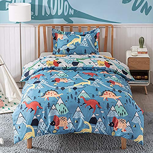 Bedsure Duvet Cover Set Cot Bed - Dinosaur Bedding Toddler Junior/Cot Bed 120x150cm with 1 Pillow Cover 40x60cm for Girls and Boys Microfiber Polyester Bedding Sets