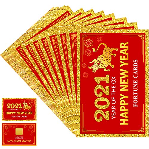 Skylety 24 Pieces 2021 Chinese New Year Fortune Cards, Year of The Ox Party Scratch Off Fortune Games, Laminated Fortune Teller Cards