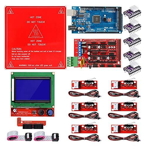 SNOWINSPRING Reprap Ramps 1.4 Kit with Mega 2560 R3 + Heatbed MK2B + 12864 LCD for 3D Printer