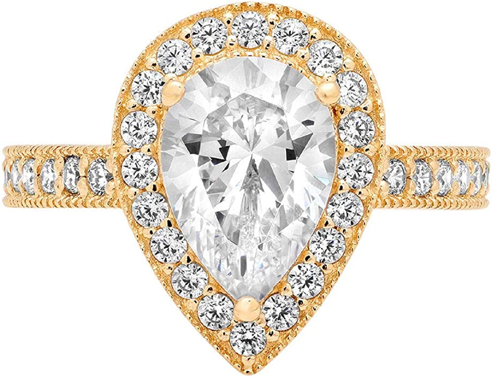 1.98ct Brilliant Pear Cut Solitaire Accent Stunning Halo with Max 44% OFF Ge Special Campaign