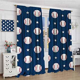 youpinnong Sports Blackout Window Curtain Baseball Patterns on Vertical Striped Background Stars Artistic Design Customized Curtains 72