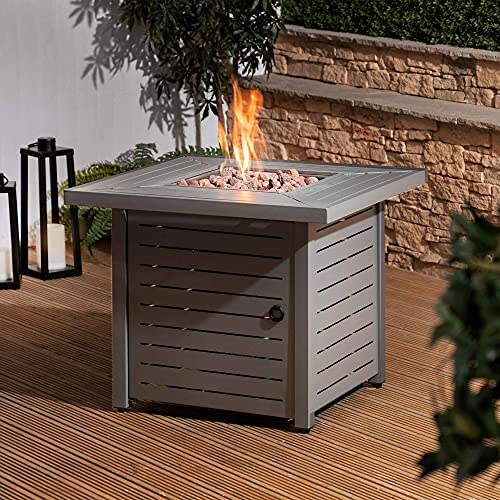 Gas Fire Pit with Lava Rocks and Protective Cover | Outdoor Heater for Gardens and Patios
