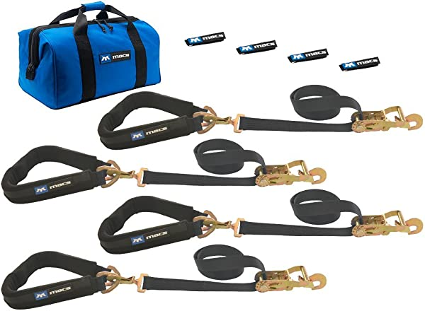 Mac S Tie Downs 511658 Black Pro Pack With 8 X 2 Direct Hook Ratchet Straps 40 Through The Wheel Straps And Fleece Sleeves