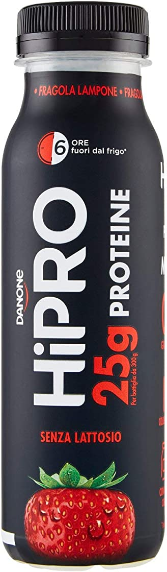 Danone hipro specialità a base di latte fragola e lampone, 300g - 25 grammi di proteine - yogurt proteico B07Z42P2RG