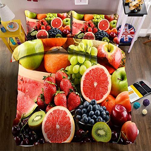 Generic Branded Impreso Funda nordica 200x220cm con 2 Fundas de Almohada 3 Piezas Harina de Frutas 100% Poliéster Microfibra Muy Suave hipoalergénico