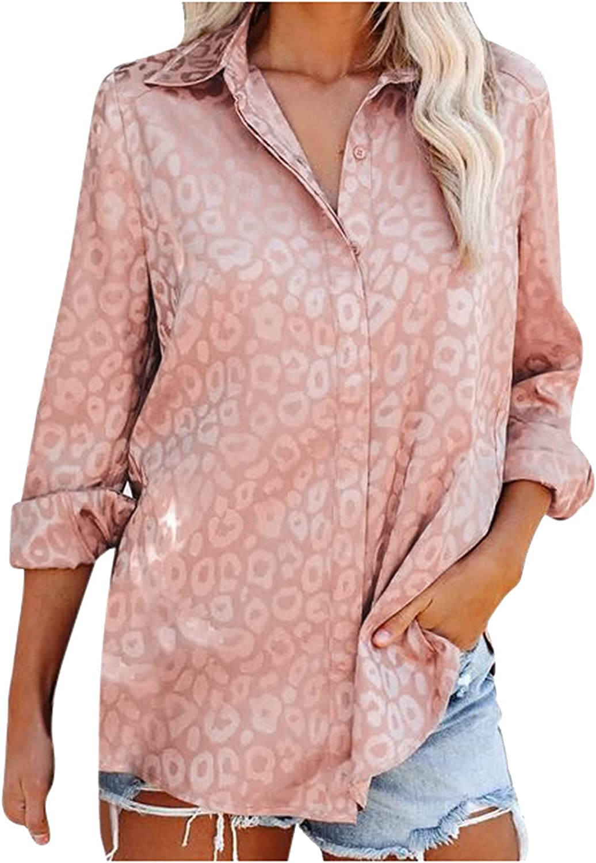 Sagton Women's Satin Silk Button Down Shirts V Neck Long Sleeve Leopard Blouses Tops Formal Casual Shirt Work Office