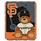 Officially Licensed MLB Field Bear Baby Woven Jacquard Throw Blanket, Soft & Cozy, Washable, Throws & Bedding, San Francisco Giants, 36' x 46'