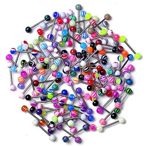 Zonster Confezione da 20 Colorati Sfera in Acciaio Inossidabile con bilanciere Anelli di Lingua Bar Piercing Cosmetic (Type1: 20pcs)