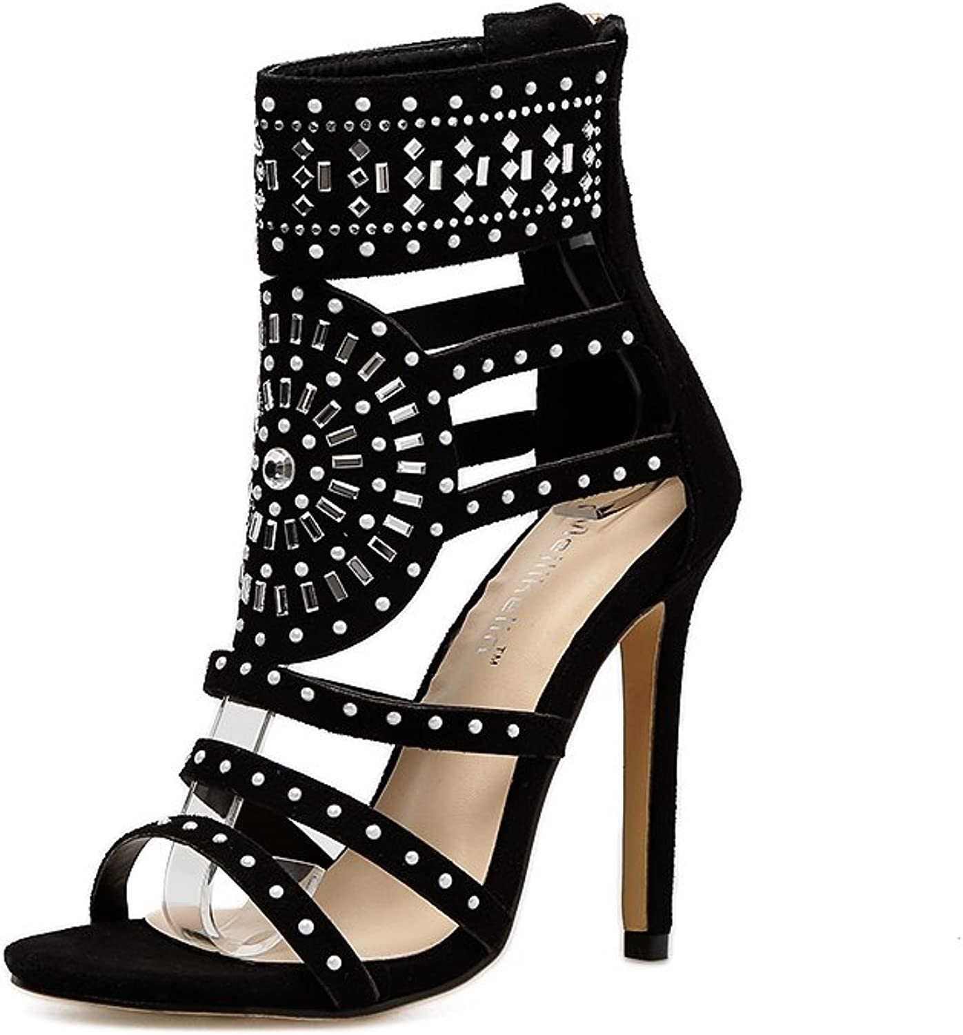 Soulength Women Fashion Open Toe Rhinestone Design High Heel Sandals Crystal Ankle Wrap Glitter Diamond Gladiator Black Size 35-40