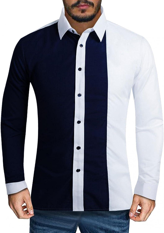 Mens Long Sleeve Shirts,Fashion Blouse Men's Color block Long Sleeve Button Down Shirt Hoodies Sweatshirt Tops