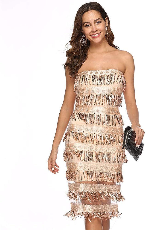 MSNZS Dresses Sequined Strapless Tassel Sexy Dress