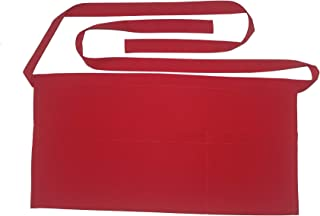 SEW UR LIFE (6 Colors Available Waterdrop Resistant 3 Big Pockets Christmas Red Waist Apron Kitchen Bistro Cafe Bar Pub Cake Shop Bakery Half Aprons for Chef, Baker, Servers, Waitress, Waiter