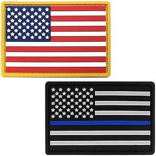 Bundle American Flag PVC Patch & Thin Blue Line - USA Flag Patch United States of America Military Uniform Tactical Jacket Milsim Hats - Soft Rubber Emblem - Hook & Loop - 3