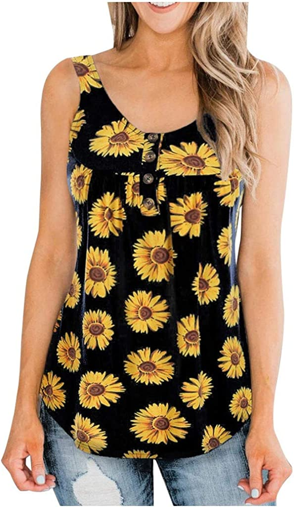 Women's Casual Vest Sunflower Print Fashion Summer Sleeveless Tanks Loose Comfort Crew Neck Camisole Blouses Tops
